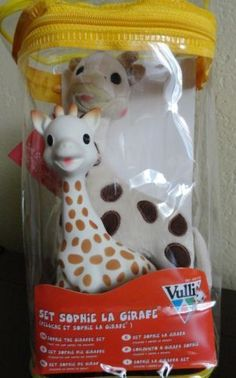 New Vulli Sophie The Giraffe 2 piece Toy Set Teether & Plush Toy made in France #Vulli