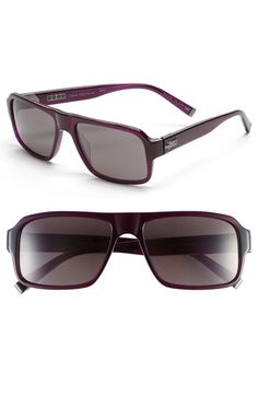 $260, Dark Purple Sunglasses: John Varvatos Collection 56mm Rectangular Sunglasses Purple One Size. Sold by Nordstrom. Click for more info: https://lookastic.com/men/shop_items/66303/redirect
