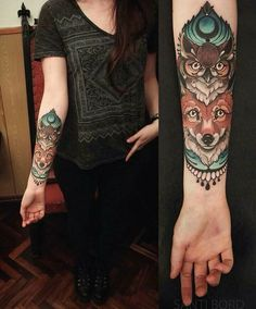 #tattoo #tatuagem #ink #inked #bodymodification #alineymarques #fox #owl #animals