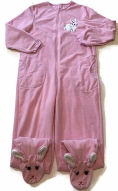 Nick & Nora Bunny Rabbit Pink Footie Pajamas 1 Pc Fleece Large Christmas Story L  | eBay