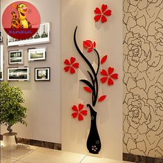 Free shipping Mei-dimensional crystal vase wall stickers TV wall stickers creative stickers hallway mirror attached restaurant