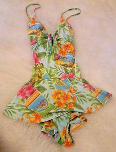 13cc150e0f4 Details about KATHY IRELAND Swimsuit Size 14 Tropical Floral Postcards Aqua  Blue Cannes