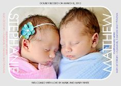 Printable Twin Birth Announcements Doubly by PamelasDigitalPrints, $10.00