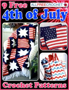 9 Free 4th of July Crochet Patterns eBook - Crochet some amazing 4th of July crochet patterns for this Independence day. Show your Patriotism with red, white and blue ribbons, pins, home decor and more.
