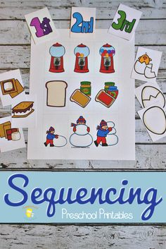 Teaching sequencing to preschoolers helps them learn to make order in their world. It's an important beginner math skill, as well. This set of printable sequencing cards is a great place to start! Free Preschool, Preschool Printables, Preschool Classroom, Preschool Learning, In Kindergarten, Learning Activities, Teaching Kids, Baby Learning, Student Teaching