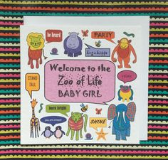 Baby girl card, welcome baby card, congratulations on baby girl card, zoo baby girl card, zoo of life, newborn girl card, new baby card by Designerpoems on Etsy