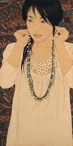 Ikenaga Yasunari is Japanese artist born in 1965. His paintings depict beautiful women, whose expressions and postures suggest a dreamy atmosphere. Ikenaga's paintings also showcase exquisite textile pattern designs.