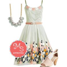 In this outfit: Ethereal Anthem Dress, Little Bit of Glitz Belt in Rose, Graceful of Life Necklace, Gamble Heel in Blush #floral #party #fancy #dresses #ModCloth #ModStylist #fashion