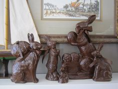 Spray paint (Leather Brown) and random ceramic bunnies-Satin ribbon..Chocolate rabbits and bunnies
