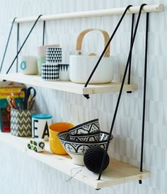 Get A Lifetime Of Project Ideas and Inspiration! Step By Step Woodworking Plans Diy Hanging Shelves, Diy Wall Shelves, Hanging Storage, Rope Shelves, Wooden Shelves, Hanging Rope, Shelving Ideas, Industrial Shelves, Unique Shelves