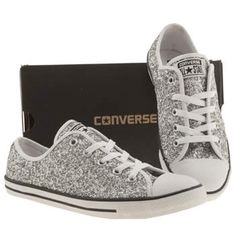 Womens Silver Converse All Star Dainty Glitter Ox Trainers | schuh