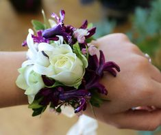 Purple And White Real Touch Silk Wrist Corsage For