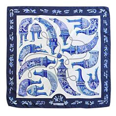 Rare 1975 Vintage Hermes ' Ryhtons ' by Karin Swildens Large Blue Silk Scarf | From a collection of rare vintage scarves at https://www.1stdibs.com/fashion/accessories/scarves/