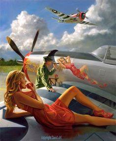 """Nose Art/Pin-Up"" Painting By David Uhl at Cyril Huze Post …"