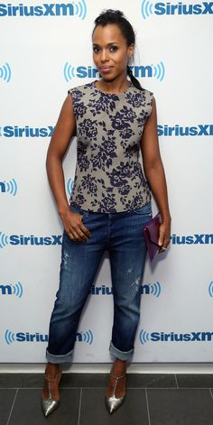 Take your slightly distressed jeans from day to evening with a dressy floral-print top, like Kerry Washington's, and high-shine accessories.