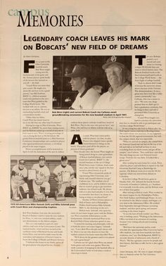 """Ohio University Today, Spring 1998. """"Legendary coach leaves his mark on Bobcats' new field of dreams."""" Longtime Ohio baseball coach Bob Wren was honored when the Bobcats' new baseball stadium was named after him. :: Ohio University Archives"""