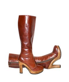 4fbf70e5fb6 Vintage 70 s PLATFORM Boots Brown Leather Wood Sole Rockstar Stovepipe Boots  7.5