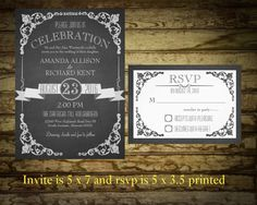Chalkboard Wedding Invitations  Vintage by NotedOccasions on Etsy