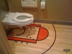 Bathroom Floor Painted Like Basketball Court Around Toilet [Pic] Basketball Bedroom, Basketball Funny, Basketball Stuff, Cool Rooms, Humble Abode, Boy Room, Man Cave, Home Improvement, Cool Designs