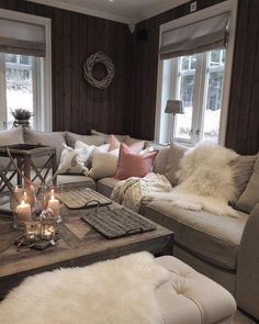 Living Room Styles, Living Room Designs, Living Room Decor, Hygge Home, Cozy Place, Cabin Interiors, Dream Decor, Home And Living, Home Furniture