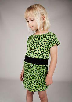 Mini Rodini Leopard Dress Green - Mini Rodini