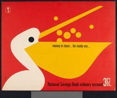 Tom Eckersley, National Savings Bank - TEC - VADS: the online resource for visual arts Graphic Design Illustration, Book Illustration, Graphic Art, English Posters, Shaun Tan, Savings Bank, Sketch Inspiration, Motion Design, Vintage Advertisements