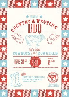 All American country picnic barbecue or BBQ invitation design template royalty-free all american country picnic barbecue or bbq invitation design template stock vector art & more images of barbecue Country Picnic, Book And Magazine, American Country, Free Vector Art, Label Design, Identity Design, Magazine Design, Graphic Design Inspiration, Invitation Design