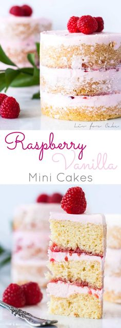 These mini raspberry vanilla mini cakes are layered with a creamy vanilla frosting and raspberry jam. | livforcake.com via @livforcake