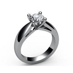 Bar set contour Solitaire Diamond Engagement Ring in 18K White gold (1.00 ct.) - Solitaire Diamond Rings