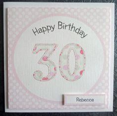 Personalised Pink 30th Handmade Birthday Card - SC51 £2.75