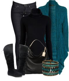 """Teal and Black"" by sannroberts ❤ liked on Polyvore"