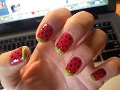 Cute watermelon nails :)