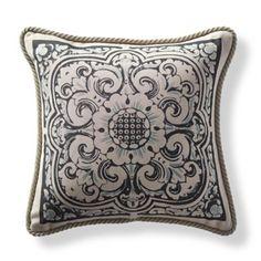 Block Print Medallion Indigo Outdoor Pillow
