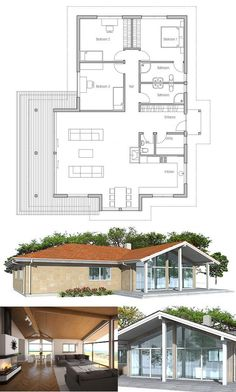 Small House Plan in Modern Architecture, Three bedrooms. Abundance of natural light, vaulted ceiling. Floor Plan from ConceptHome.com