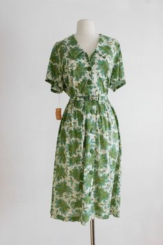 1940s Vintage Shirtwaist  Dress  - PLUS SIZE, Casual Day Dress, Green Floral, Belted Dress by A. Deare