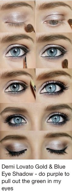 Blue and Gold eye shadow.