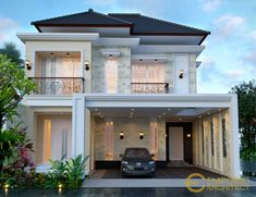 Ibu Elsyah& House Design in Jakarta - Quality home design architectural services, village . Two Story House Design, House Front Design, Home Building Design, Building A House, Architectural House Plans, Architectural Services, Small Villa, Modern Villa Design, Bungalow House Design