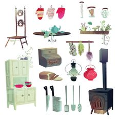 Franz, the prince of tooth fairies, and some prop designs for his kitchen. Bg Design, Prop Design, Game Design, Animation Background, Art Background, Object Drawing, Retro Illustration, Character Design Animation, Visual Development