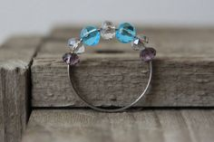 Blue Sparkling Bead Double Band Ring by FAGR on Etsy