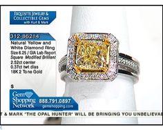 2.52ct Fancy Color Natural Diamond Brilliant Square &  0.37ctwt White Diamond Round 18K 2-Tone Gold Ring, Size 6.25 (Color: Brownish Greenish Yellow)