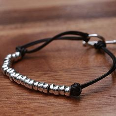 men's silver and leather friendship bracelet by Hurleyburley man