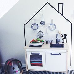 Toy kitchen background (Ikea Duktig kitchen) and washi tape Ikea Play Kitchen, Play Kitchens, Mini Kitchen, Toy Kitchen, Washi Tape Wall, Deco Kids, Toy Rooms, Kids Corner, Kid Spaces