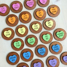 Sets of colorful, handmade hearts with kid-friendly messages, a fun alternative to candy for classroom Valentines. Size: wide, two layers of wood Hand-painted, laser cut and engraved. Kid Friendly Paint, Diy Photo Booth, Converse With Heart, Pet Names, Custom Wood, Valentines Day, Hand Painted, Messages, Handmade Gifts