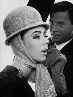 Maggi Eckardt in paisley silk jersey hood-cap by Gilbert Orcel, 1964