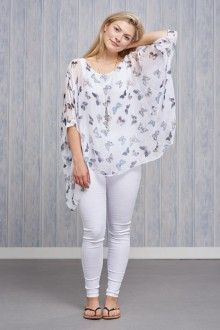 Belle Love Italy Butterfly Silk Print Top £36.00 White Jeans, Butterfly, Italy, Silk, Pants, Tops, Fashion, Trouser Pants, Moda