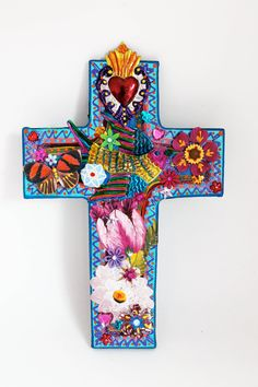 Mexican inspired colorful cross