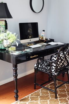 lack desk with chippendale bamboo chair