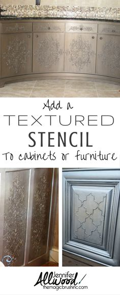 Add a textured or embossed stencil to furniture, islands, focal cabinets, buffets, salons, coffee bars, etc. This is a classic finish.  It's metallic AND it has a raised stencil on it. You can do it in any color you want; the video gives you two options ( bronze or silver.) It's a fun, fun finish to do! Find more beautiful finishes and how-to videos at TheMagicBrushinc.com