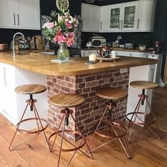 The Hendrix stool, with modern copper finish & solid wood seat, will add industrial elegance to your decor. Home Decor Kitchen, Kitchen Living, Kitchen Interior, New Kitchen, Home Kitchens, Kitchen Design, Kitchen Ideas, Kitchen Diner Extension, Open Plan Kitchen