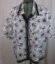 Shirt-Black/White Floral Design-Allison Daley II- Women's Plus Size 22W #AllisonDaleyII #ButtonDownShirt #Any